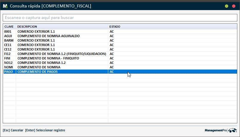 3-2.2. Selecciona con doble clic a la opción <b>PAGO - COMPLEMENTO DE PAGOS</b>